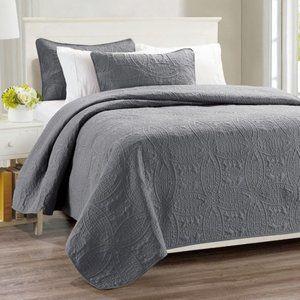 🌟Millano Chambrey 3 Piece Quilt Set Grey